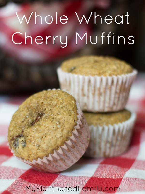 Whole Wheat Cherry Muffins that are plant-based and delicious.