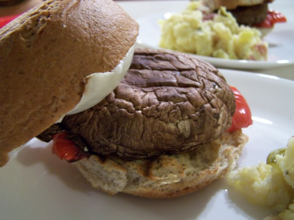 Portobello Burger and Potato Salad