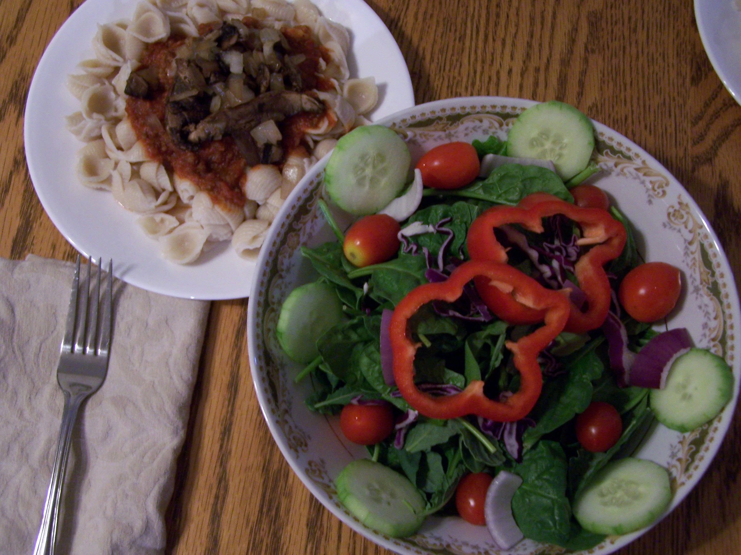Salad and GF Pasta