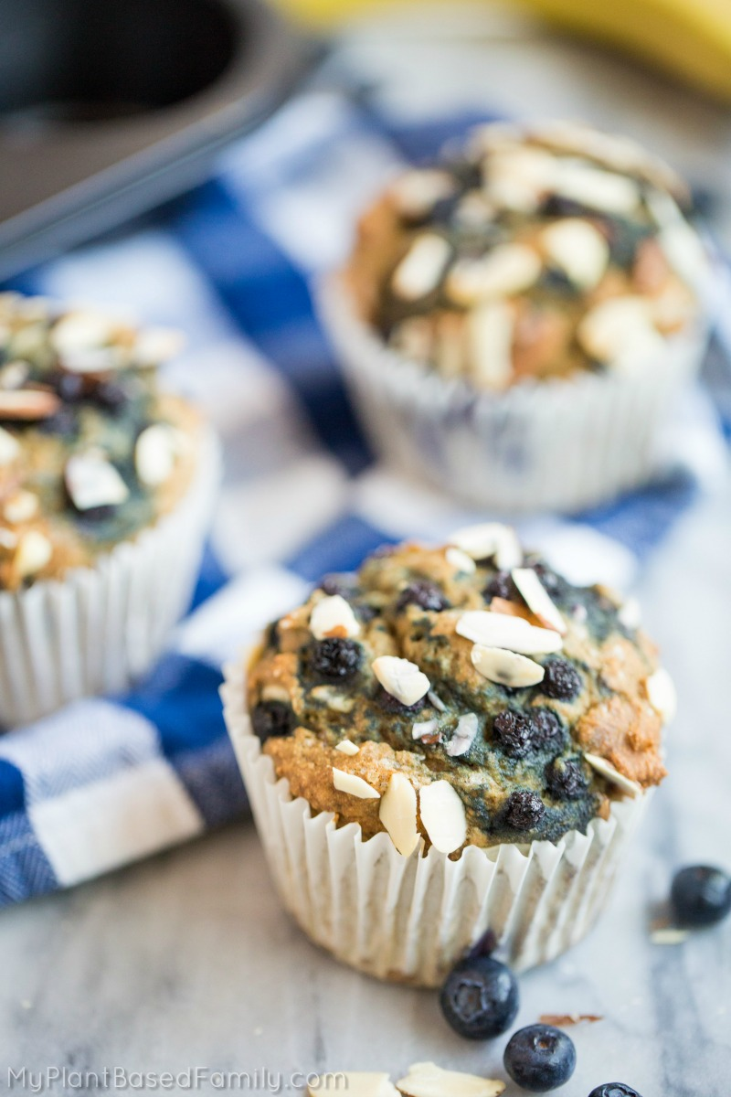 The Plant-Based Blueberry Muffins are oil-free and super easy to make. No one will believe these delicious muffins are vegan!
