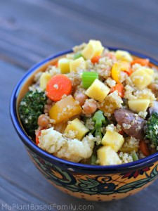 Chickpea Quinoa Stir Fry is vegan (plant-based) and gluten-free.