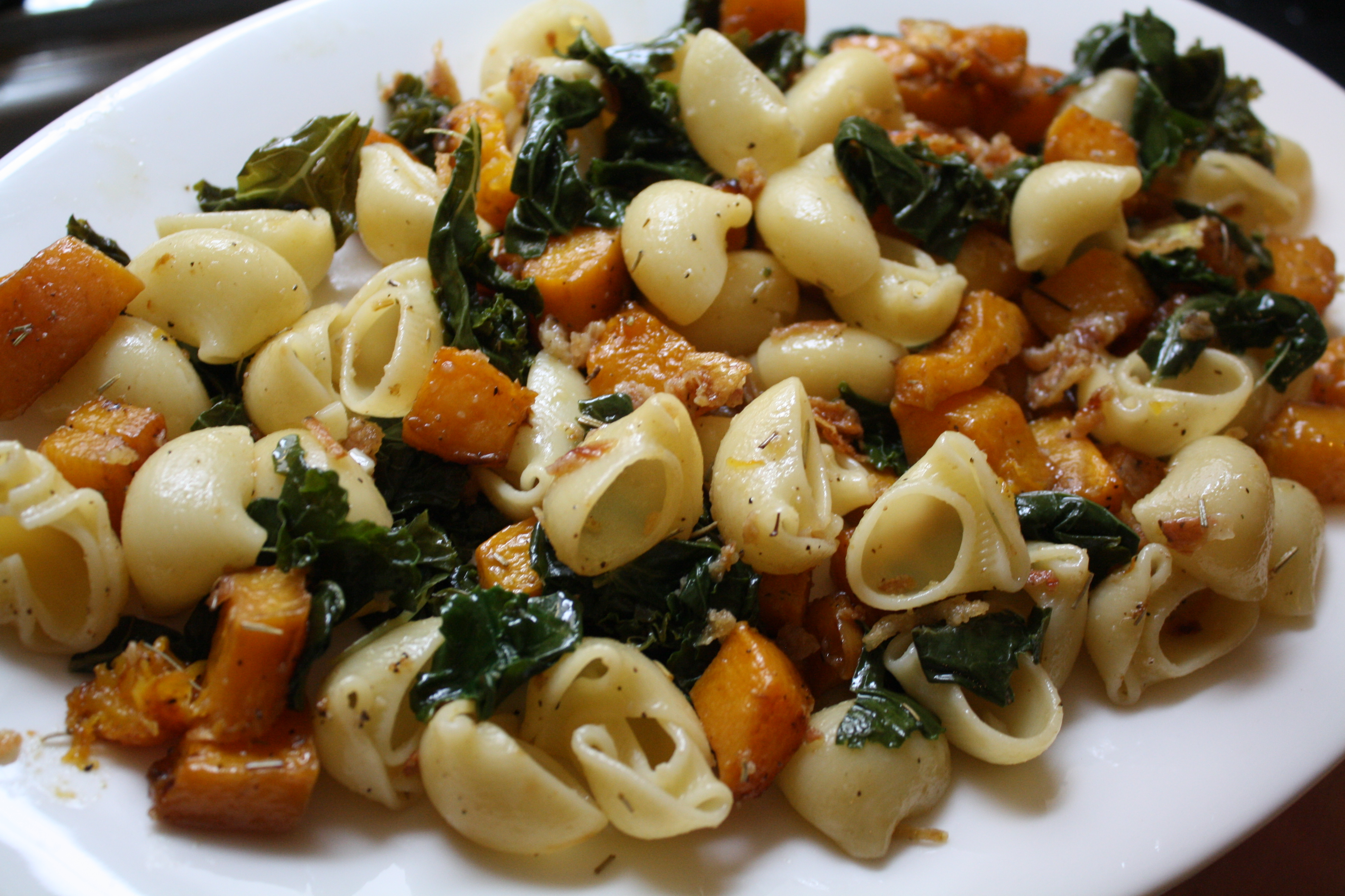 Balsamic Roasted Butternut Squash & Kale Pasta