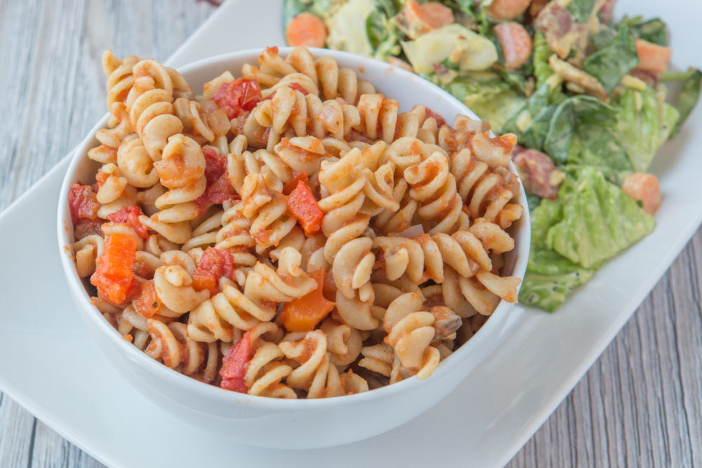 Easy and delicious gluten-free and plant-based Pizza Pasta! Don't stress about dinner!
