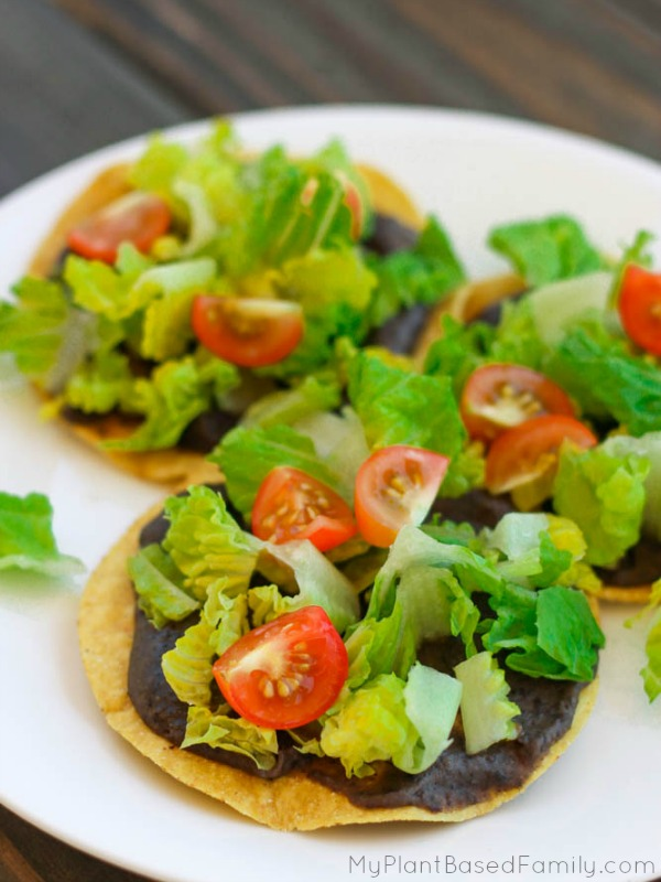 Plant-Based Tostadas are a fun and easy meal idea. Kids love tostadas and they are healthy too.