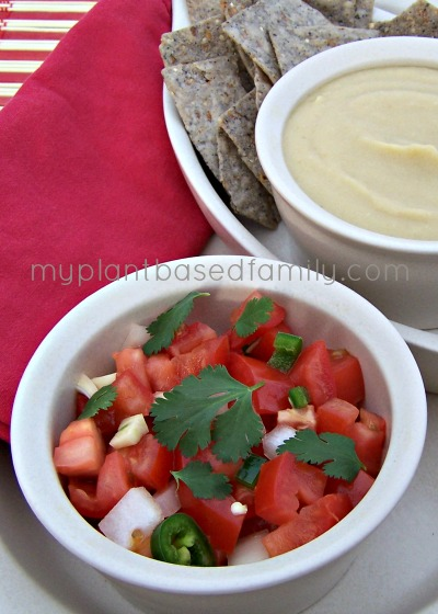 Pico de gallo and white bean dip