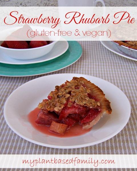 Strawberry Rhubarb Pie that is vegan and gluten-free