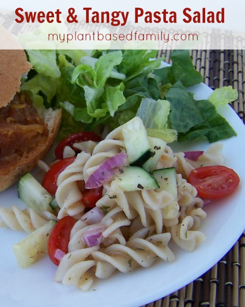 Sweet and Tangy Pasta Salad is perfect for potlucks! Its allergy-friendly and really easy to make.