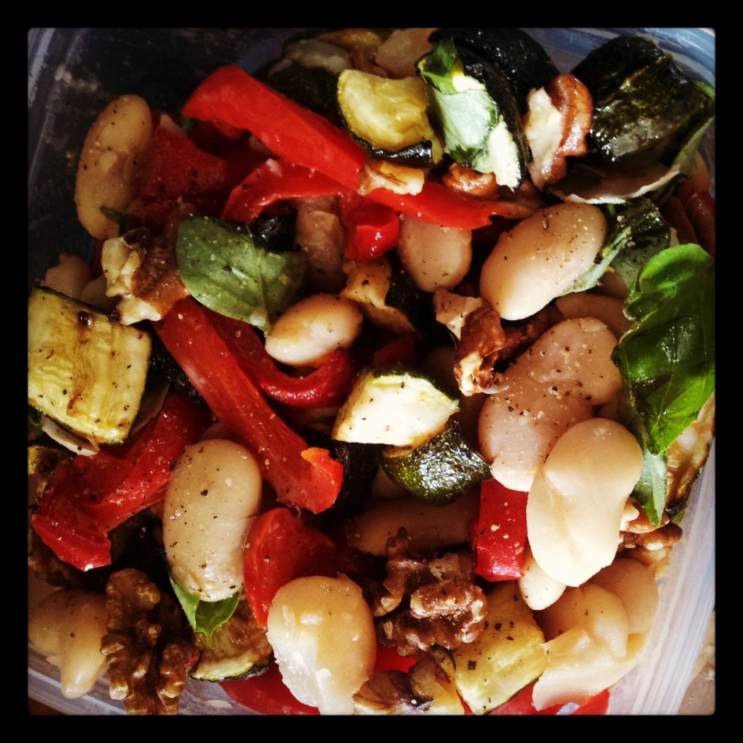 Butterbean, walnut roast veg salad