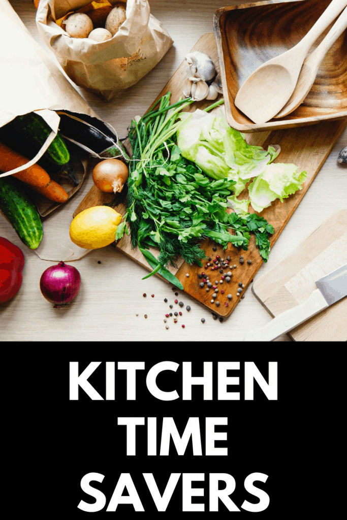 Kitchen counter with veggies and knife