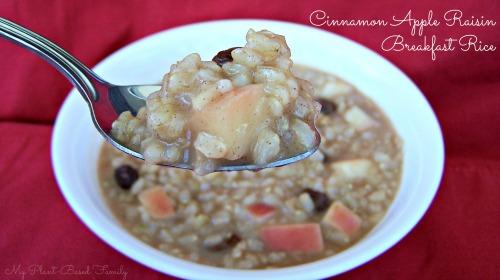 Plant-Strong Gluten Free Apple Cinnamon and Raisin Breakfast Rice