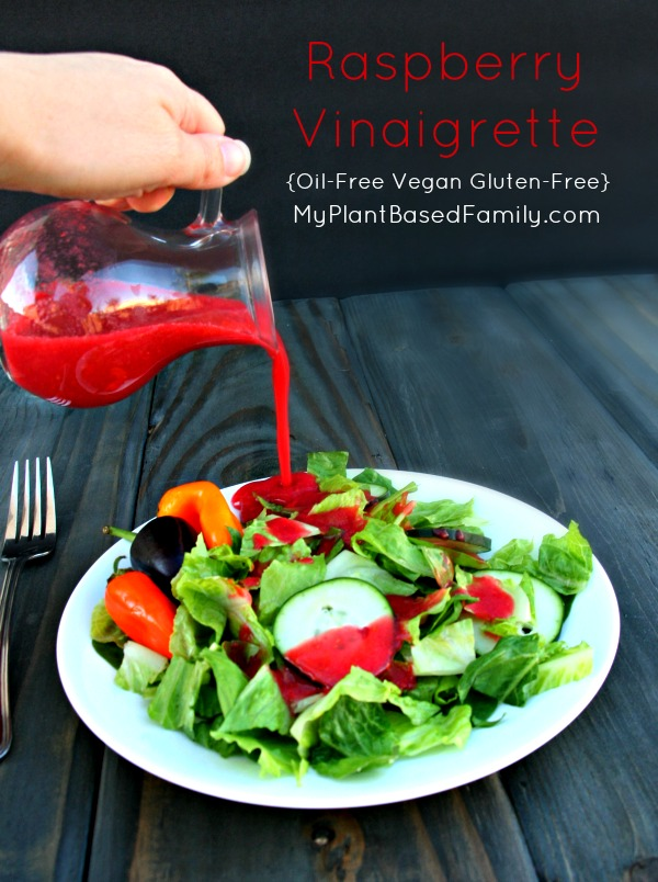 Oil-Free Raspberry Vinaigrette Salad Dressing is vegan and gluten-free