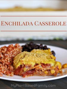 Enchilada Casserole is a fast, easy and healthier version of regular enchiladas. This recipe is vegan (plant-based), gluten-free dairy-free and made from pantry staples for a delicious family friendly meal.