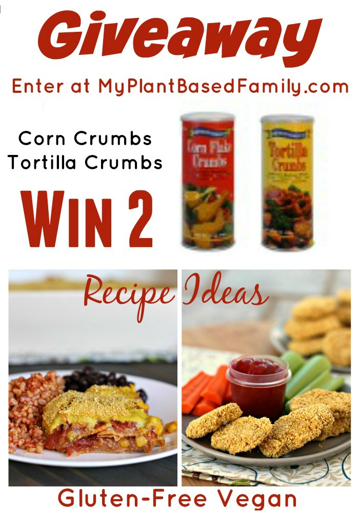 Enter the gluten-free Corn Crumb Giveaway for 2 containers of corn crumbs.