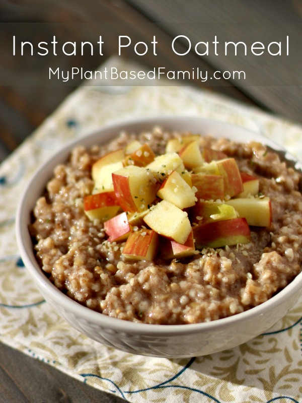 Instant Pot Oatmeal Recipe that is plant-based, vegan, dairy-free and gluten-free oats