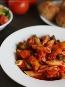 One Pot gluten-free Veggie Pasta is vegan (plant-based diet) and a family favorite.