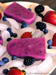 Triple Berry Frozen Yogurt Pops are dairy-free and suitable for vegans. These frozen treats are easily made with a yogurt alternative and fresh fruit.