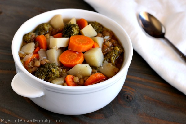 """Beefy"" Lentil and Veggie Soup is a hearty and healthy family favorite. Add this to your plant-based meal plan."