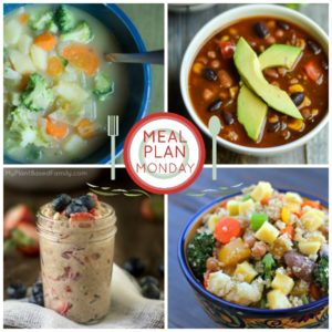 A plant-based meal plan featuring soups, potatoes, oatmeal and more.