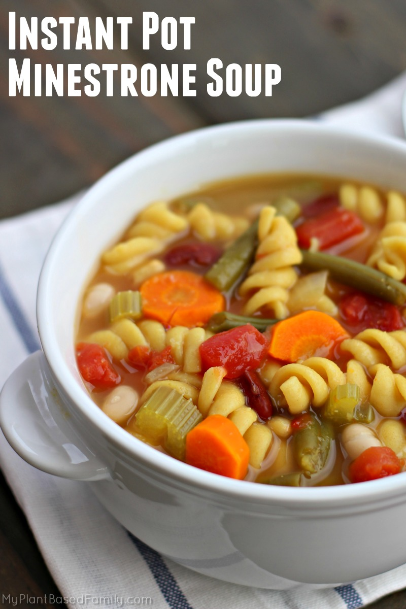Instant Pot Minestrone Soup may just be the perfect plant-based soup! Veggies, beans, broth and pasta create a hearty and healthy soup!