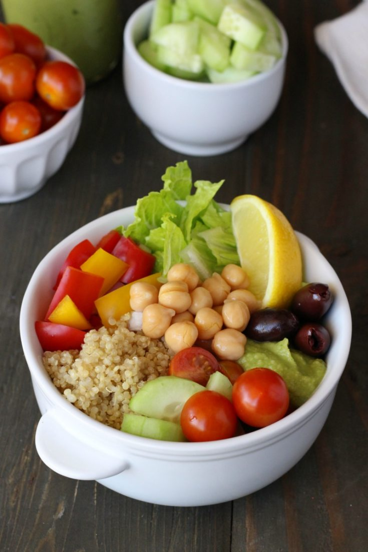 Put this Plant-Based Mediterranean Bowl on your meal plan this week! It's perfect for weekend meal prep!