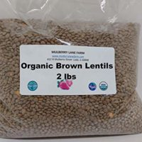 Brown Lentils, 2 Pounds USDA Certified Organic, Non-GMO, Bulk