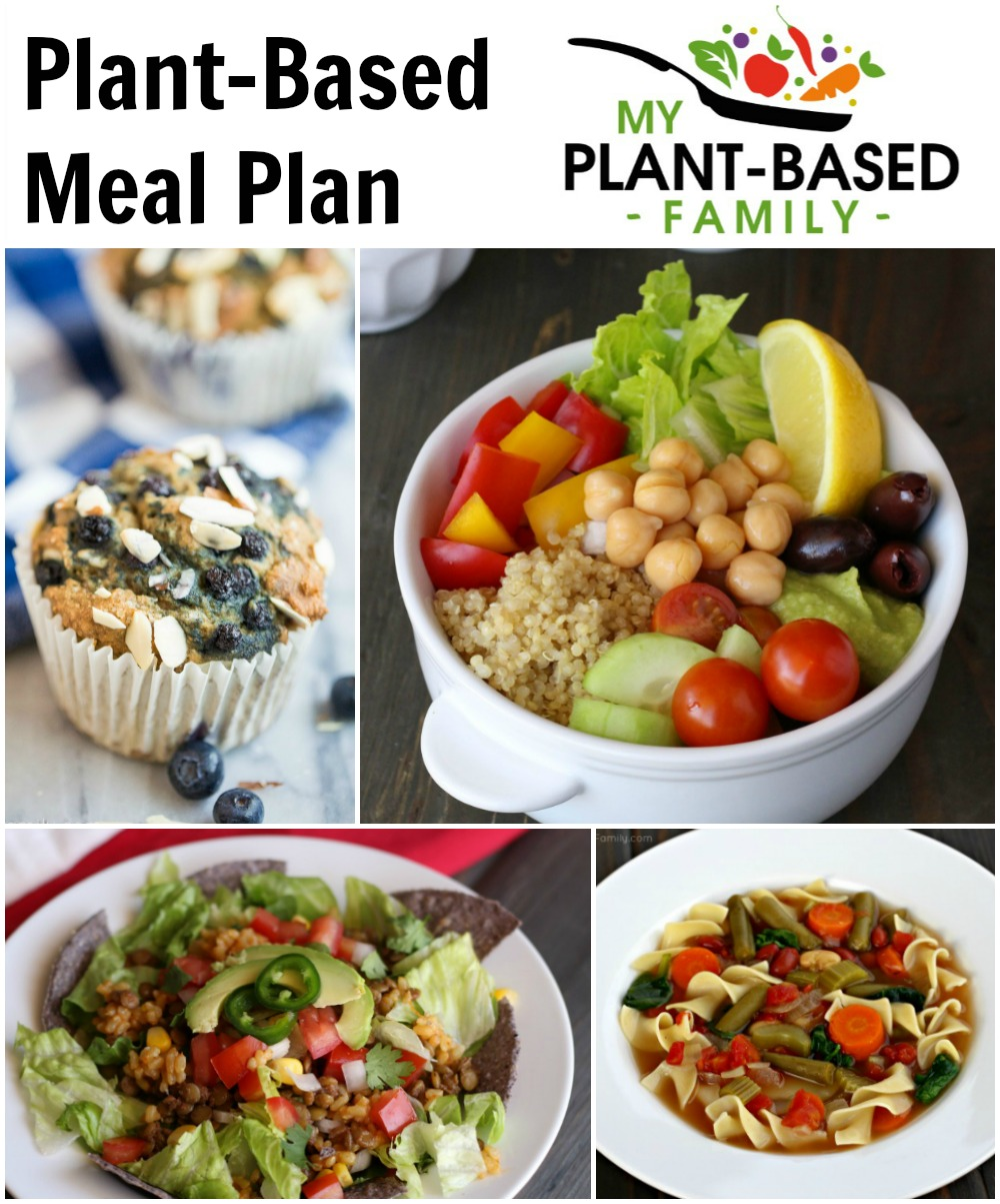 Plant-Based Meal Plan featuring soup, salad, a muffin and a Mediterranean Bowl