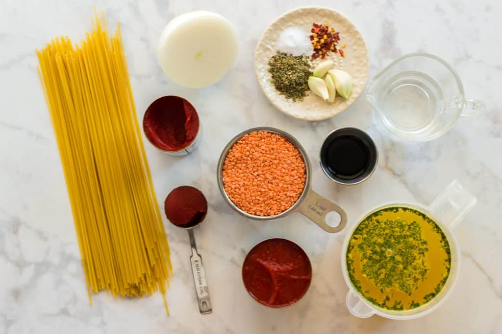 Ingredients for vegan bolognese