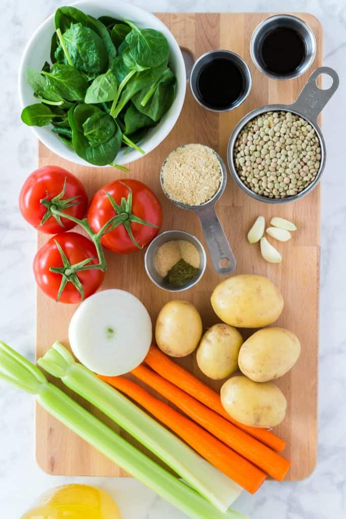 Instant Pot Lentil Stew Ingredients